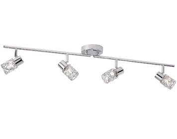 Searchlight Mesh 4 Light Split Bar Spotlight, Chrome Finish With Wire Strands Crystal Shades - 7714CC