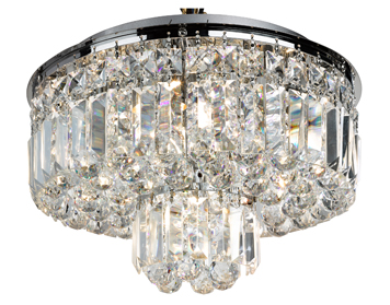 Searchlight Hayley 5 Light Flush Ceiling Light, Chrome Finish With Crystal Drops - 7755-5CC