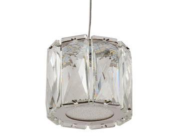 Searchlight Maxim 1 Light LED Ceiling Pendant Light, Chrome Finish With Bevelled Glass - 7761CC