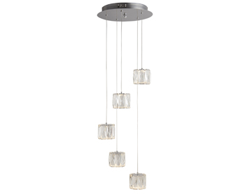 Searchlight Maxim 5 Light LED Multi Drop Ceiling Pendant Light, Chrome Finish With Bevelled Glass - 7765-5CC