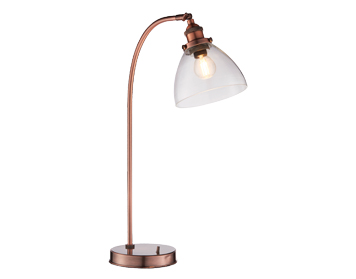 Endon Hansen Task 1 Light Table Lamp, Aged Copper & Clear Glass Finish - 77861