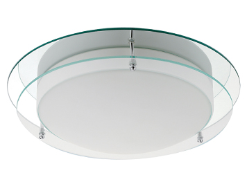 Searchlight Flush Bathroom Ceiling Light, Chrome Finish With Mirrored Backplate & Opal Glass Diffuser - 7803-36