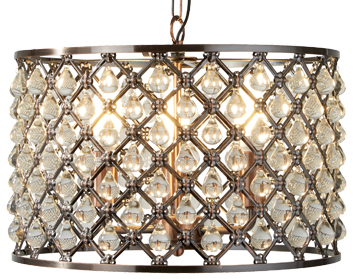Searchlight Marquise 3 Light Drum Pendant, Antique Copper Finish With Glass Tear Drop Trim - 7813-3CU