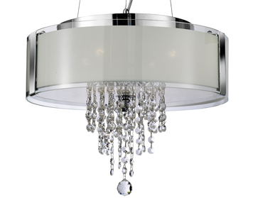 Searchlight 4 Light Ceiling Pendant Light, Chrome Finish With Frosted Glass Panels & Clear Glass Drops - 7824-4CC