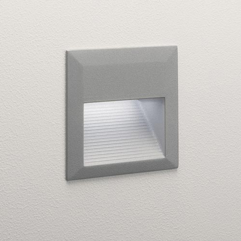 Astro Tecla IP44 LED Recessed Outdoor Wall Light Painted Silver