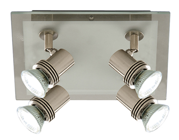 Searchlight Top Hat 4 Light Spotlight, Brushed Nickel Finish - 7844-4