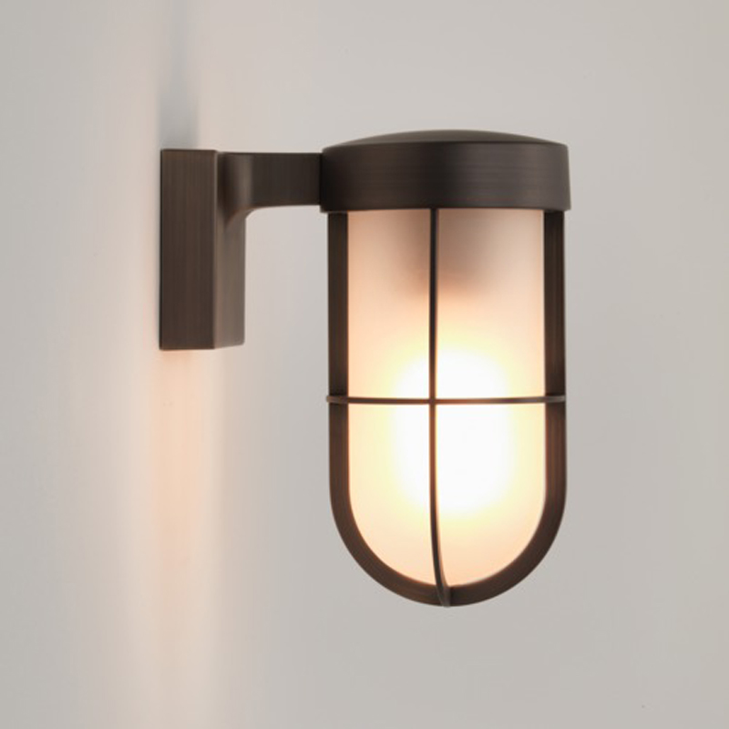 Astro Cabin Wall Frosted IP44 Outdoor Wall Light, Bronze Plated Wit...
