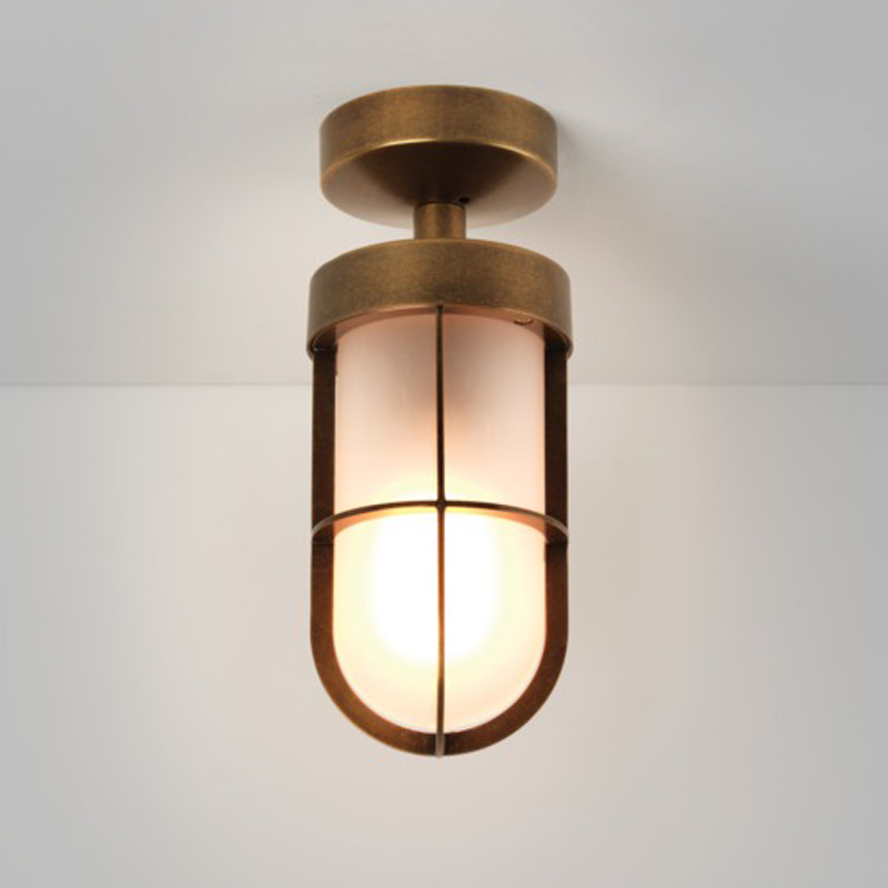 Astro Cabin Frosted Semi Flush Outdoor Ceiling Light, Antique Brass - 7854
