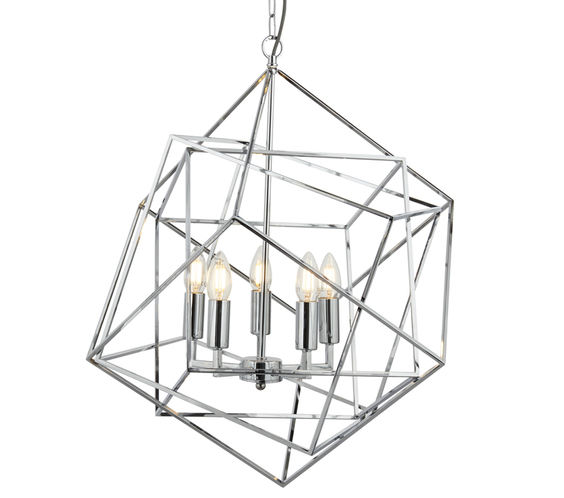 searchlight cube 5 light pendant ceiling light  chrome