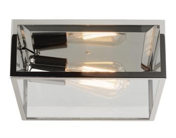 Astro Bronte Flush Ceiling Light, Polished Nickel Finish With Clear Glass - 7866
