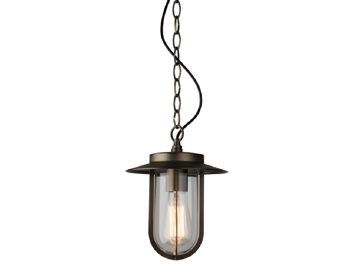Astro Montparnasse Pendant Exterior Ceiling Pendant Light, Bronze Finish With Clear Glass - 7867