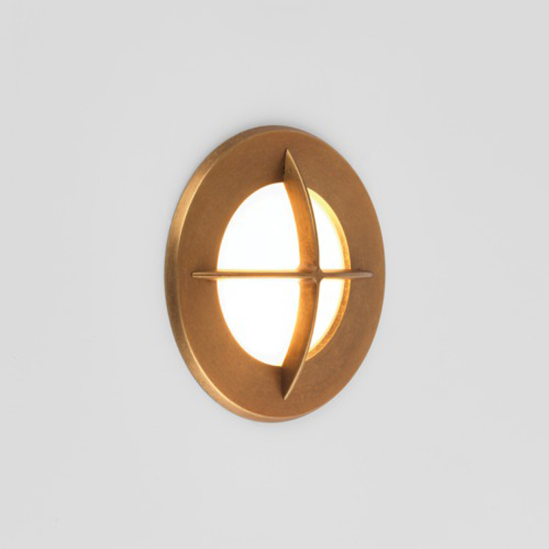 Astro Arran Round Coastal Exterior Wall Light, Antique Brass Finish - 7878