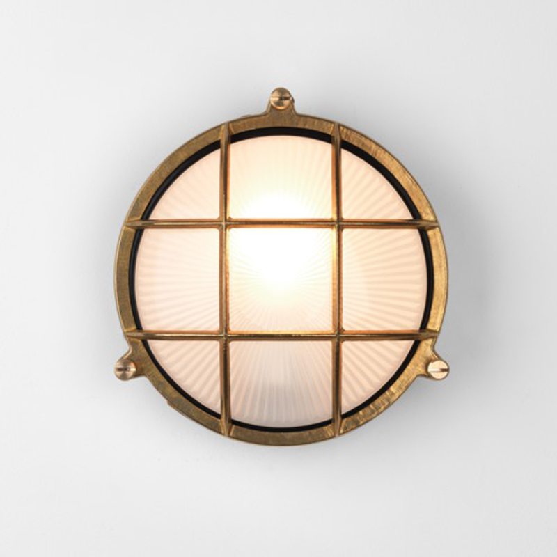 Astro Thurso Round Coastal Exterior Wall Light, Natural Brass Finish - 7880