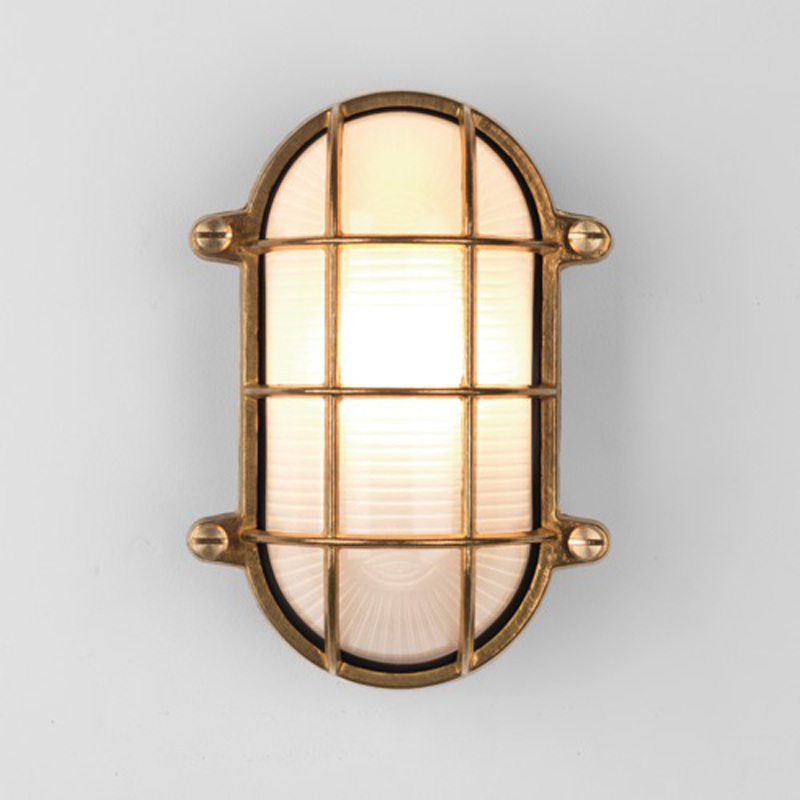 Astro Thurso Oval Coastal Exterior Wall Light, Natural Brass Finish - 7881