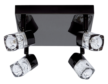 Searchlight Blocs 4 Light LED Plate Spotlight, Black Chrome Finish With Crystal Block Diffusers - 7884BC-LED