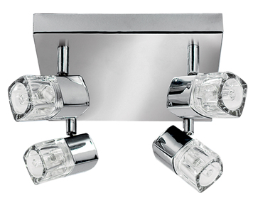 Searchlight Blocs 4 Light LED Plate Spotlight, Chrome Finish With Crystal Block Diffusers - 7884CC-LED