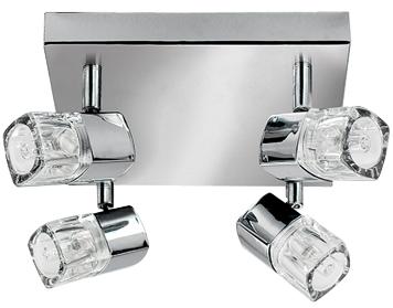 Searchlight Blocs LED 4 Light Square Spotlight Chrome Clear Ice Cube Glass