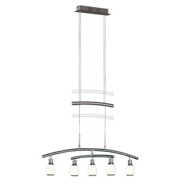 Wofi Atlanta 5 Light LED Rise & Fall Ceiling Pendant Light, Matt Nickel - 7886.05.64.0000