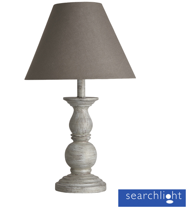 searchlight table lamp with spindle ball base washed wood grey 7888gy from. Black Bedroom Furniture Sets. Home Design Ideas