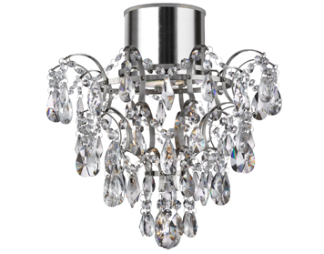 Searchlight Bathroom 1 Light LED Semi-Flush Ceiling Light, Chrome Finish With Crystal Droplets & Buttons - 7901-1CC-LED