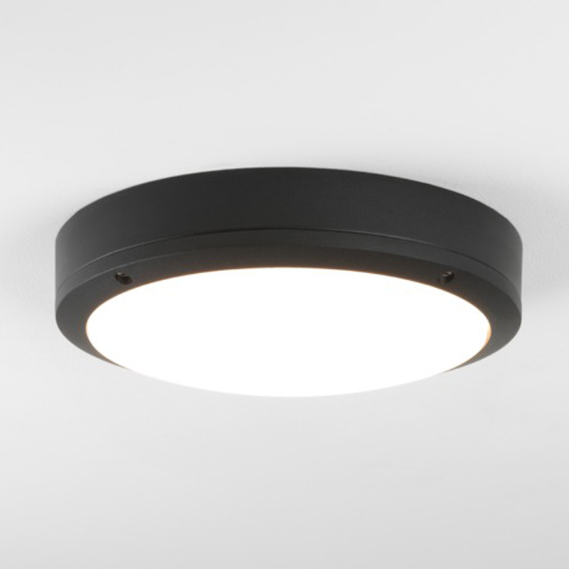 Astro Arta LED Bathroom Flush Ceiling Light/Wall Light, Black Finish With Polycarbonate Diffuser - 7901