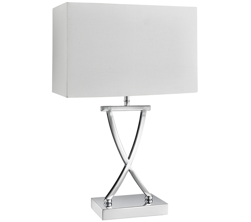 Searchlight Club 1 Light Table Lamp Chrome Finish With White