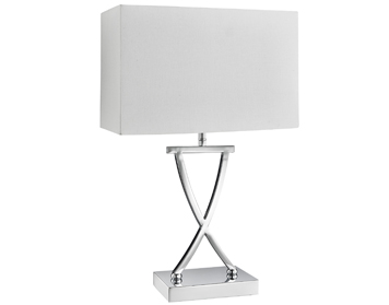 Searchlight Club 1 Light Table Lamp, Chrome Finish With White Rectangular Shade - 7923CC