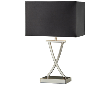 Searchlight Club 1 Light Table Lamp, Satin Silver Finish With Black Rectangular Shade - 7923SS