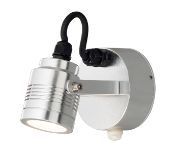 Konstsmide Monza LED Cylindrical Outdoor Wall Light With PIR Sensor, Aluminium Finish - 7941-310