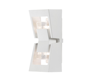 Konstsmide Potenza 2 Light Outdoor Up & Down Wall Light, White Finish - 7955-250