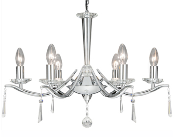 Searchlight Arabella 6 Light Crystal Ceiling Fitting, Polished Chrome Finish - 7956-6CC