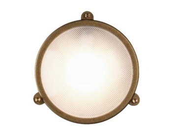 Astro Malibu Coastal Round Outdoor Wall Light, Antique Brass Finish - 7969