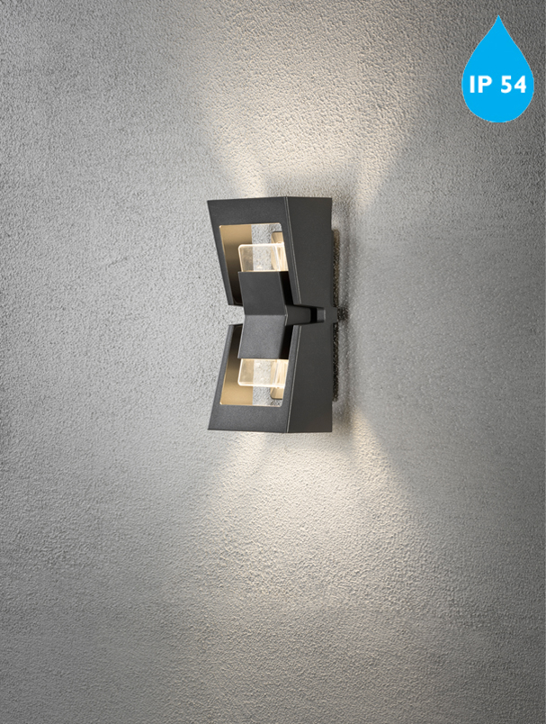 Konstsmide Potenza IP54 GU-10 2 Light Outdoor Up & Down Wall Light, Anthracite Grey Finish ...