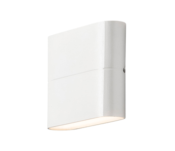 Konstsmide Chieri LED 2 Light Outdoor Up & Down Wall Light, Painted White Finish With Opal Acrylic Glass - 7972-250