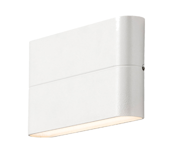 Konstsmide Chieri LED 2 Light Outdoor Up & Down Wall Light, Painted White Finish With Opal Acrylic Glass - 7973-250