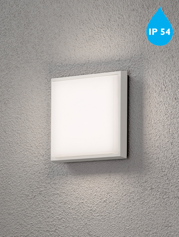 Konstsmide cesena ip54 led 1 light square outdoor ceilingwall konstsmide cesena ip54 led 1 light square outdoor ceilingwall light aluminium finish with opal polycarbonate glass 7975 250 mozeypictures Image collections