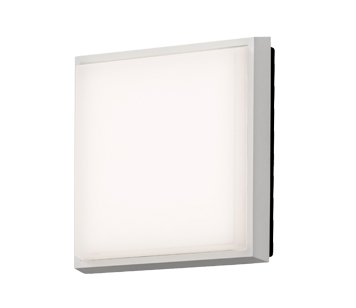 Konstsmide Cesena 1 Light Square Outdoor Ceiling/Wall Light, Aluminium Finish With Opal Polycarbonate Glass - 7975-250