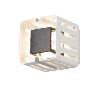 Konstsmide Pescara LED Square Outdoor Wall Light, White Painted Aluminium Finish - 7978-250