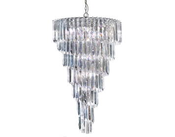 Searchlight Sigma 9 Light Chandelier, Chrome Finish With Clear Acrylic Prisms - 7999-9CC