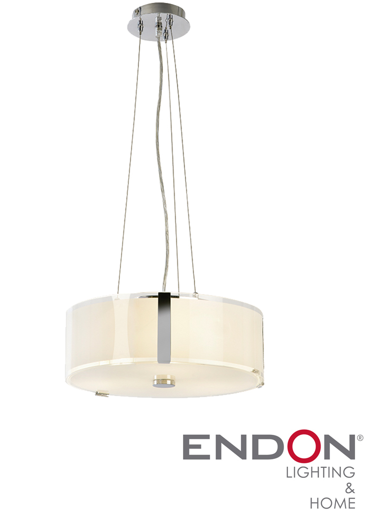 Endon Ceiling 3 Light Pendant With Opal Glass Chrome