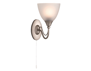 Firstlight Santana Single Switched Wall Light, Satin Steel Finish With Acid Glass - 8036SS
