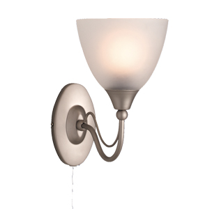 Traditional wall lights from easy lighting firstlight santana single switched wall light satin steel with acid glass 8036ss aloadofball Choice Image