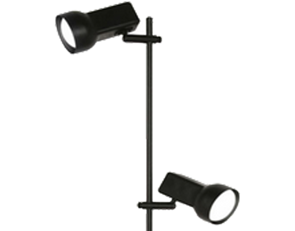 Oaks Lighting 'Quattro 80' 2 Light Floor Lamp, Black - 8051BK