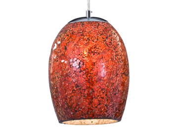 Searchlight Crackle 1 Light Ceiling Pendant Light, Chrome Finish With Red Crackle Glass Shade - 8069RE