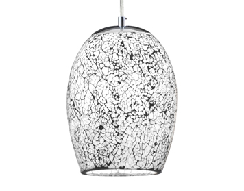 Searchlight Crackle 1 Light Ceiling Pendant Light, Chrome Finish With White Crackle Glass Shade - 8069WH