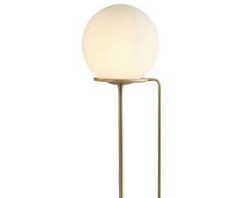 Searchlight Sphere 1 Light Floor Lamp, Antique Brass Finish With Opal Glass Shade - 8093AB