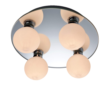 Firstlight Showtime Mirror Flush Fitting Ceiling Light, Mirror Glass Finish With Opal Glass - 8106
