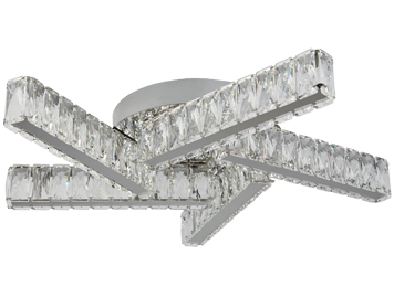 Searchlight Clover 5 Light Flush LED Ceiling Light, Chrome Finish With Clear Crystal Glass - 8125-5CC