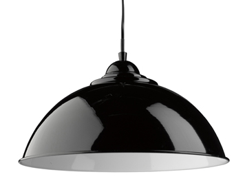 Searchlight Fusion 1 Light Pendant Ceiling Light, Black Dome Shade With White Inner - 8140BK