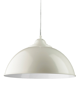 Searchlight u0027Sanfordu0027 Half Dome Ceiling Pendant Light, Cream With White  Inner - 8140CR
